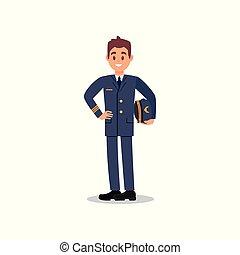 plat, beau, capitaine, civil, main., ouvrier, jeune, vecteur, aviation., tenue, conception, pilote avion, chapeau, face., heureux