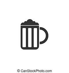 plat, bière, icône