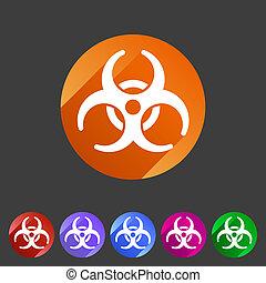 plat, biohazard, écusson, icône