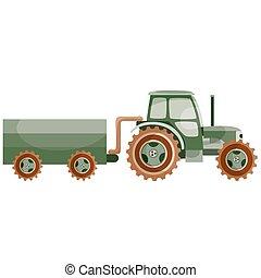 plat, blanc, isolé, vecteur, illustration, agricole, travail, caravane, tracteur, dessin animé, transport, fond, objet