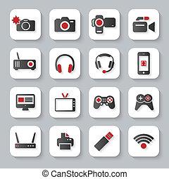 plat, blanc, multimédia, appareils, icônes