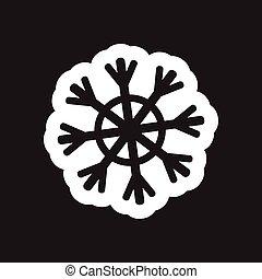 plat, blanc, noir, flocon de neige, icône
