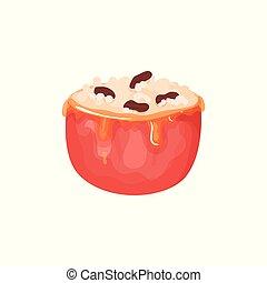 plat, bourré, pomme, nourriture, dessert., recette, book., élément, miel, fromage, fruit, vecteur, conception, illustration, délicieux, caramel, icon., nuts., dessin animé, rouges, crème