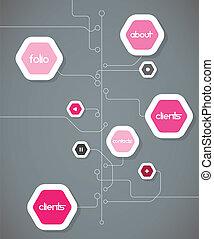 plat, bubbles., forme, conception, gabarit, hexagone