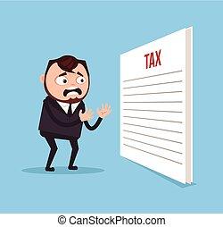 plat, bureau, caractère, ouvrier, choqué, triste, vecteur, illustration, homme affaires, impôt, dessin animé, document., homme