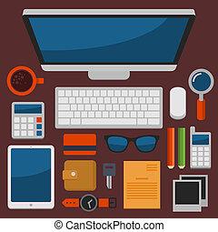 plat, bureau, sommet, vecteur, conception, lieu travail, vue