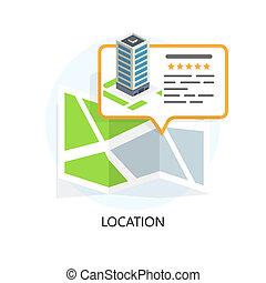 plat, business., emplacement, icon., localiser, ton, design.