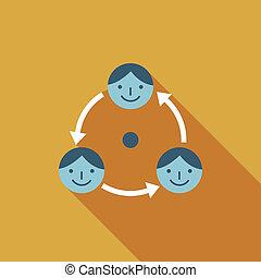 plat, business, long, connexion, ombre, icône
