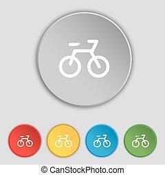 plat, buttons., vélo, signe., vecteur, cinq, symbole, icône