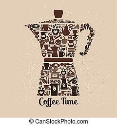 plat, café, coffee., pot, icons., illustration, petit