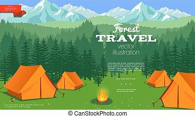plat, camping, gabarit, été