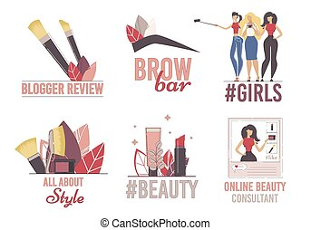 plat, canal, logo, vecteur, ensemble, beauté, blogger