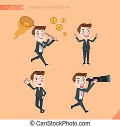 plat, capacité, ensemble, bureau, business, activités, caractère, conseil, -, jeune, financement, concept, conclusion, ouvrier, dessin, style