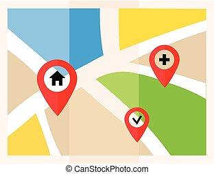 plat, carte, map., marqueurs, vecteur, emplacement, icon., indicateur, pins.