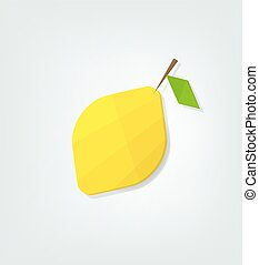 plat, citron, icône