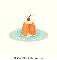 plat, coiffe, fait maison, cerise, vanille, dessert., petit gâteau, traditionnel, top., vecteur, savoureux, délicieux, doux, conception, nourriture., italien