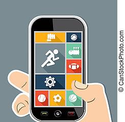plat, coloré, mobile, apps, icons., sports, ui, main humaine