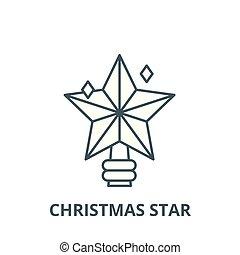 plat, concept, étoile, contour, signe, illustration, symbole, vector., icône, ligne, noël