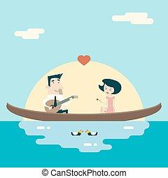 plat, concept, amour, fond, icônes, gondole, valentine, salutation, illustration, dessin animé, femme, vecteur, conception, caractères, élégant, mâle, jour, carte, gabarit