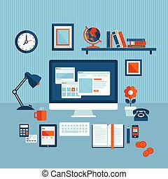 plat, concept, business, espace de travail