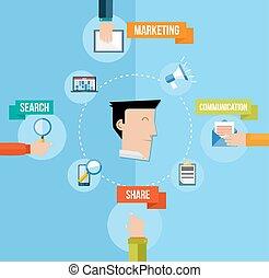 plat, concept, commercialisation, illustration, média, social