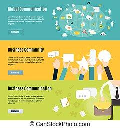 plat, concept, communication affaires, élément, conception, icône