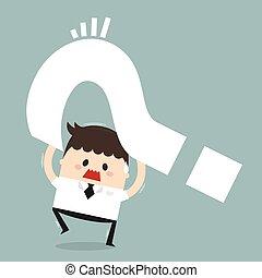 plat, concept, dilemme, business, homme affaires, conception