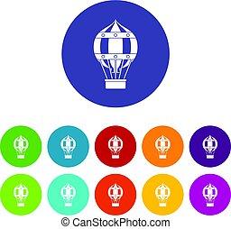 plat, concept, ensemble, icônes, voyage, global, vecteur