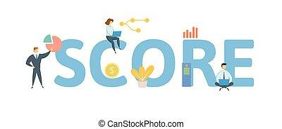plat, concept, lettres, illustration., gens, score., isolé, icons., arrière-plan., vecteur, blanc
