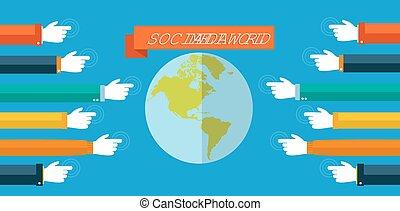 plat, concept, média, illustration, social, mondiale