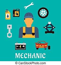 plat, concept, outils, mécanicien, profession