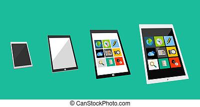 plat, concept, tablette, 3d
