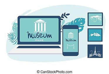 plat, concept, tours, interactif, smartphone, virtuel, laptop., ordinateur portable, ligne, tours., galerie art, vecteur, musée, exhibition.