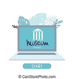 plat, concept, tours, interactif, virtuel, laptop., ordinateur portable, ligne, tours., galerie art, vecteur, musée, exhibition.