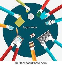 plat, concept, travail, illustration, vecteur, équipe