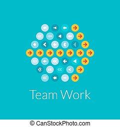 plat, concept, travail, illustration, vecteur, conception, équipe