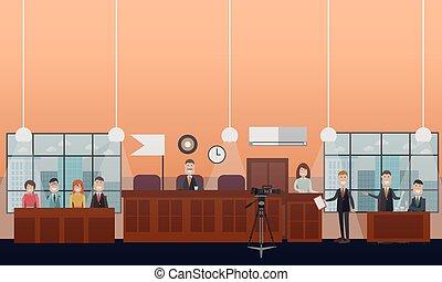 plat, concept, tribunal, illustration, audition, vecteur
