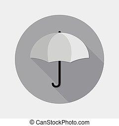plat, conception, parapluie, ouvert, icône