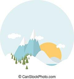 plat, conception, paysage hiver, neigeux
