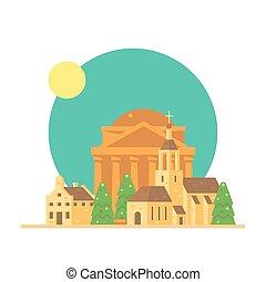 plat, conception, village, italie, panthéon