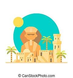 plat, conception, village, sphinx, giza