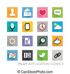 plat, conceptions, icône, -, applications