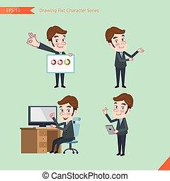 plat, conseil, ensemble, yong, business, activités, caractère, bureau, -, présentation, diagramme, concept, ouvrier, dessin, introduire, style