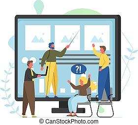 plat, consultant, style, illustration, vecteur, conception, services
