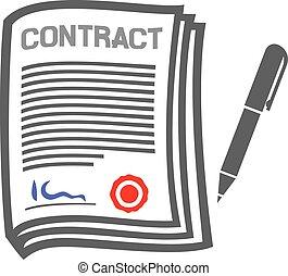 plat, contrat, icône