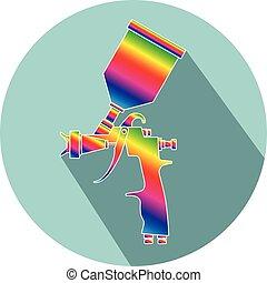 plat, couleur, fusil, peinture, pulvérisation, conception, icône