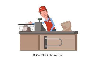 plat, counter., saleslady., dame, animation., caissier, épicerie, supermarché, isolé, arrière-plan., blanc, contrôle, magasin