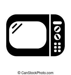 plat, cuisine, icône, illustration, vecteur, nourriture, conception, noir, chauffage, micro ondes
