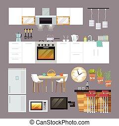 plat, cuisine, meubles