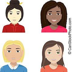 plat, différent, diversity., nationalities., vecteur, illustration, femmes
